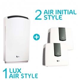 Pack Lux Air Habitat - 1 purificateur d'air Lux Air Style Blanc et 2 Air Initial Style blanc
