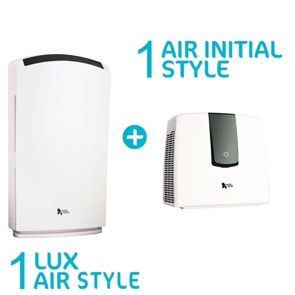 Pack Découverte - 1 purificateur Lux Air Style et 1 purificateur Air Initial Style blanc