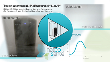 Video du test en laboratoire du purificateur d'air Lux Air de NatéoSanté